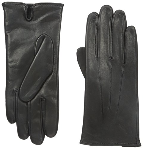 Isotoner Women's Smartouch Leather Glove, Black, 8.5/9