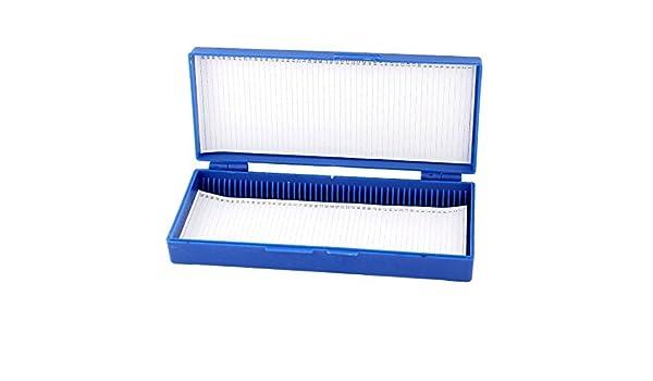eDealMax plástico Azul del rectángulo mantener la Forma 50 MicroSlide caja portaobjetos de microscopio: Amazon.com: Industrial & Scientific