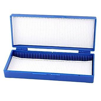 eDealMax plástico Azul del rectángulo mantener la Forma 50 MicroSlide caja portaobjetos de microscopio