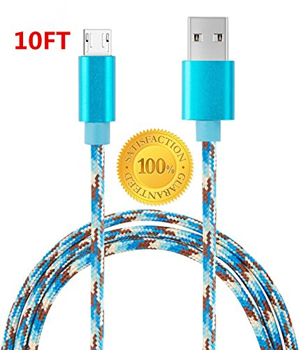 Sogola Micro USB Cable, Nylon Braid high swiftness 2.0 USB to Micro USB Charging Cables Android fast Charger Cord for Samsung Galaxy S7 Plus/S6,Note 5/4,HTC,LG,Tablet - (Blue Camo) - (1Pack 10ft)