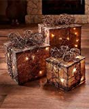Sets of 3 Lighted Gift Box Decor (Natural)