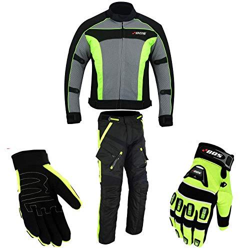 Motorradkombi Biker Motorrad Textil Kombi wasserdichte Jacke, Hosen (2XL, Neon Grün)
