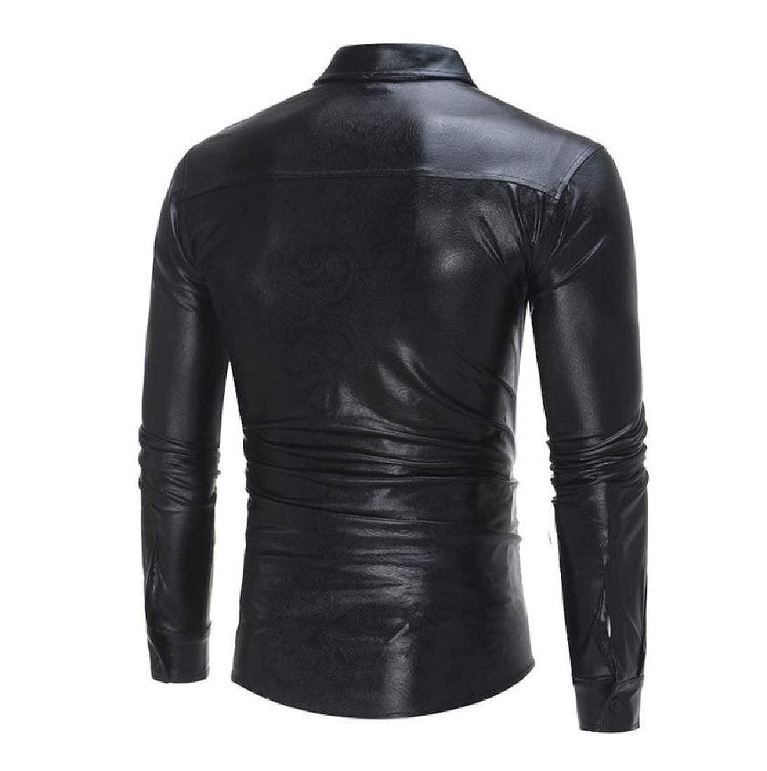 YUNY Mens Club Button-Down-Shirts Long Sleeve Flexible Fit Shirts Black L