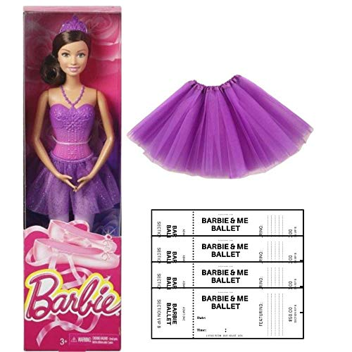 Barbie Ballerina Doll Dress up Dance Bundle with G&G Tulle Tutu Skirt for Girls and Ballerina Color Your own Tickets (Purple) ()