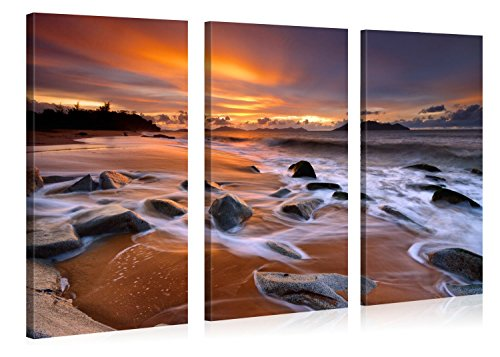 Caribbean Art Toilet Paper Holder (Very artistic Large Canvas Print Wall Art CARIBBEAN BEACH SUNSET Beach Landscape Canvas Picture Stretched On A Wooden Frame Giclee Canvas Printing Hanging Wall Deco Picture 3 Panel)