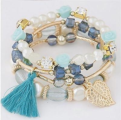 """My Best Friend Forever"" Handmade Blue and Gold Boho Fringe Effects Chic Tassel Charm Beads Leaf Pendant Stretch Layer Boho Bracelet Stacks Set for Women"