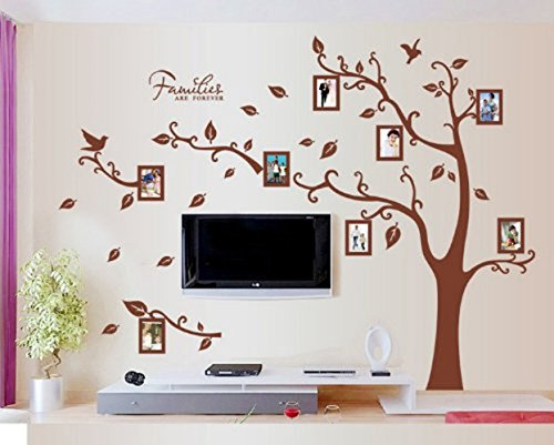 Amaonm® Removable Giant Brown Family Photo Frame Tree Wall Decals Huge Family Picture Wall Stciker Murals Peel Stick for Kids Bedroom Livingroom Girls Room Playroom Home Art Decor Decorations Left