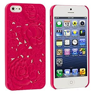 Accessory Planet(TM) Pink 3D Rose Hard Snap-On Rubberized Rear Case Cover for Apple iPhone 5 / 5S