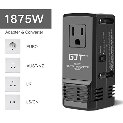 GJT Worldwide Travel Power Converter Adapter Combo,1875W AC Power Transformer,Step Down 220V to 110V Hair Dryer, All in One Plug Adapter UK/AU/US/EU Over 150 Countries(Upgraded) (Voltage Transformer Uk)