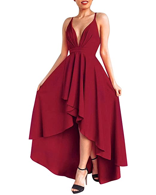 Quge Mujer Vestido Largo Sin Mangas Backless Vestidos de Noche Fiesta Partido Coctel Dresses Vino Rojo