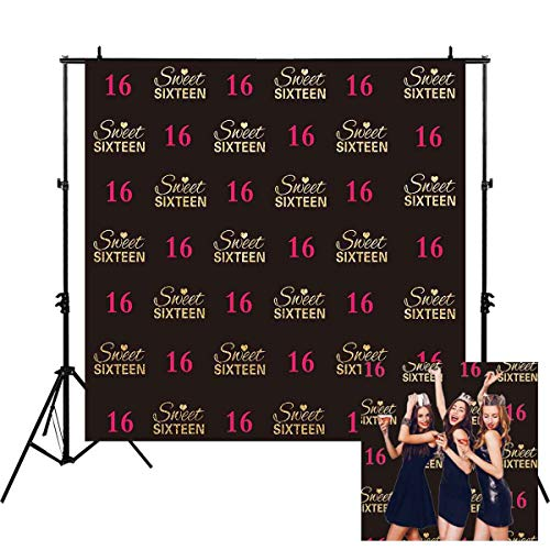 Allenjoy 6x6ft Girls' Glitter Gold Sweet 16 Backdrop Pink Sweet 16 16th Step and Repeat Photography Backdrop Happy Birthday Background Party Banner Supplies Decoration Photo Studio Props ()