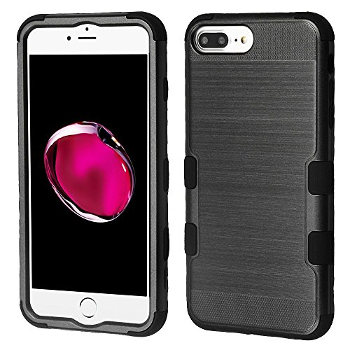 iPhone 6 Plus/6s Plus/7 Plus/8 Plus Case, Mybat Tuff Dual Layer [Shock Absorbing] Protection Hybrid Brushed PC/Silicone Case Cover For Apple iPhone 6 Plus/6s Plus/7 Plus/8 Plus, Black