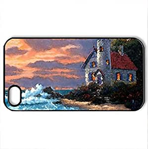 Peaceful Cove - Case Cover for iPhone 4 and 4s (Lighthouses Series, Watercolor style, Black)