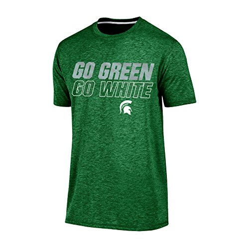 Champion (CHAFK) NCAA Michigan State Spartans Adult Men Short Sleeve Crew Neck Te, Large, Green Heather