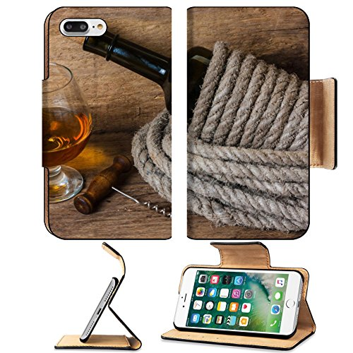 Luxlady Premium Apple iPhone 7 Plus Flip Pu Leather Wallet Case iPhone7 Plus 25392547 bottle of wine wrapped with rope on the background of the old wooden planks