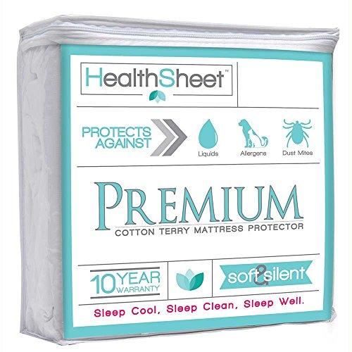 HealthSheet Premium Hypoallergenic Waterproof Mattress Protector, Twin - 10 Year Warranty