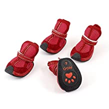Uxcell Pet Dog Poodle Mesh Design Nonslip Sole Shoes Boot, Small, Red