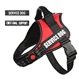 "PawShoppie Real Reflective Service Dog Vest Harness 2 Free Removable Service Dog 2 ""Emotional Support'' Patches, Woven Polyester & Nylon, Comfy Soft Padding(Red)"