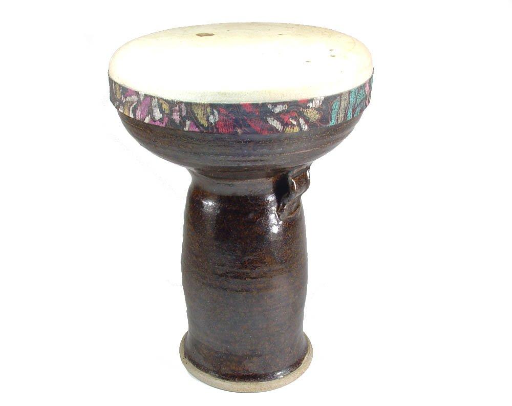 Stoneware Doumbek Darbuka Hand Drum, Goatskin Head