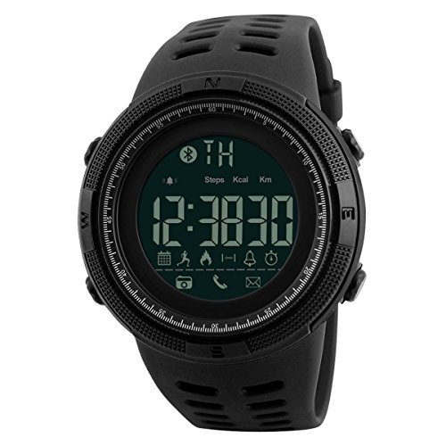 Fashion Men's Outdoor Bluetooth Pedometer Reminder Smart Watch Support iOS Andriod Camera Sports Wrist Watch (Black)