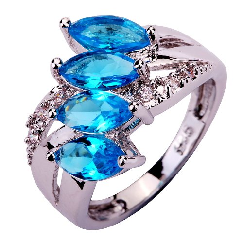 Yazilind 5*3mm Marquise Cut Bule Created Topaz Silver Plated Size 7 Ring