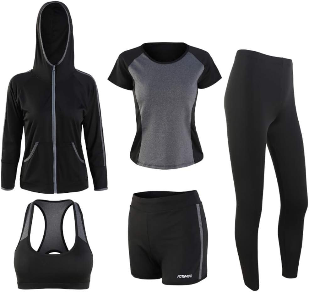 Lilongjiao Yoga Fitness Set Damen Langarm Mit Kapuze Schnell trocknend F/ünf-teilige Fitness Laufsportbekleidung Yoga Wear