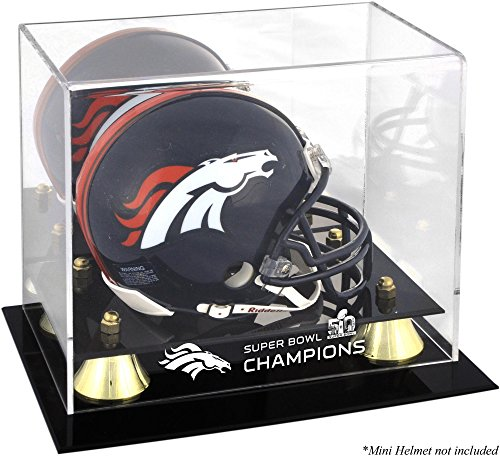 Sports Memorabilia Denver Broncos Golden Classic Mini Helmet Super Bowl 50 Champions Logo Display Case - Football Mini Helmet Free Standing Display Cases