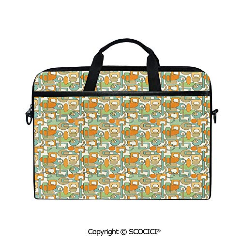 Customized Printed Laptop Bag Notebook Handbag Colorful Geometrical Shapes with Gaps Circles Oval Lines Mix Pattern 15