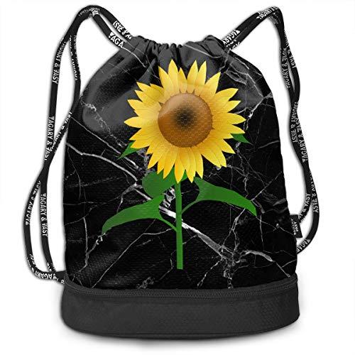 (SG0HGO Drawstring Backpack Sunflower Clipart Men and Women Gym Sport Yoga Rucksack Shoulder Bags Black)