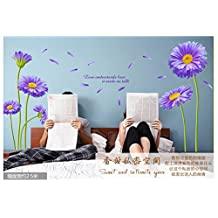 Purple Violet Flowers with Butterflies Nature Scenery Wall Sticker/decals/decor