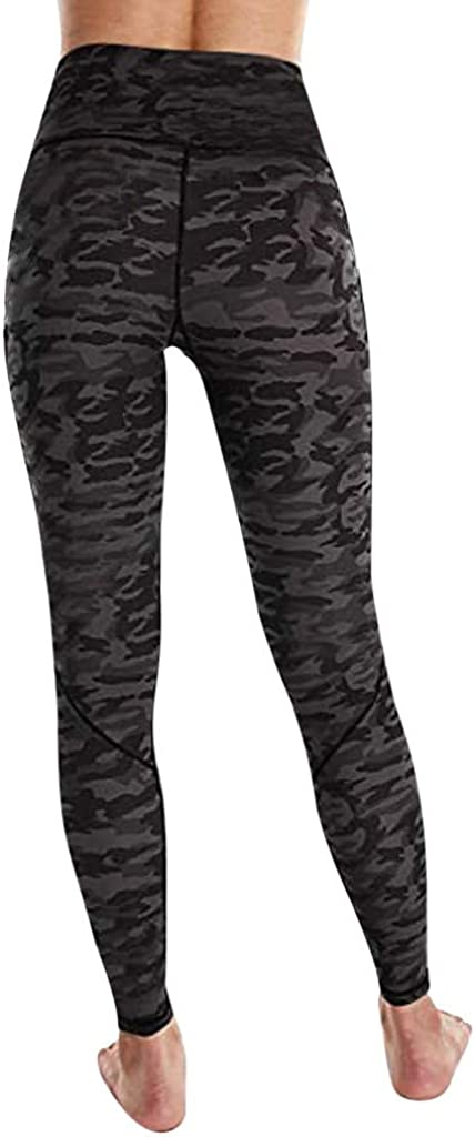 HDGTSA Printed Yoga Leggings for Women with Pocket Ankle Length Pants for Running Sports Fitness Workout Gym