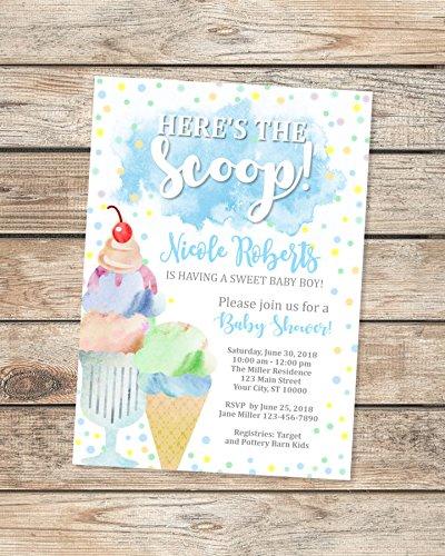 Ice Cream Baby Shower Invitation, Watercolor Ice Cream Social Baby Boy Shower Invitations, Here's The Scoop Ice Cream Baby Shower -