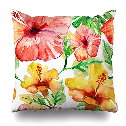 Ahawoso Throw Pillow Cover Garden Watercolor Tropical Yellow Red Hibiscus Flowers Nature Blossom Hawaii Exotic Pattern Cute Decorative Cushion Case Square 20