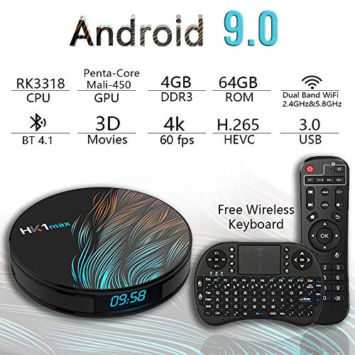 Android TV Box 9.0 4GB 64GBSmart TV Box Streaming Media Player RK3318 USB 3.0 Ultra HD/4K/HDR Dual Band WiFi 2.4GHz/5.8GHz Bluetooth 4.1 Set Top Box with Wireless Keyboard-HK1 MAX 4G+64G