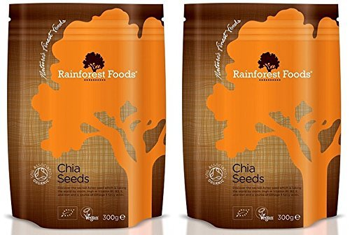 (2 Pack) - Rainforest Foods - Organic Chia Seeds | 300g | 2 PACK BUNDLE by Rainforest Foods