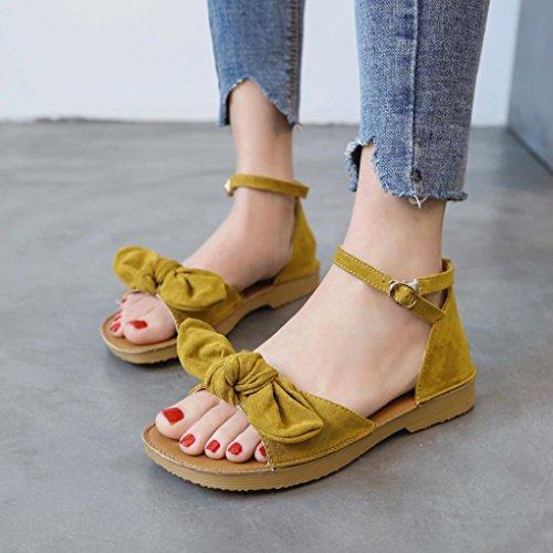 Angelof Sandales Femmes, Sandales Femmes Plates Avec Bowknot Chaussure Solide en Cuir Suede Sandales Compensees Escarpins Ouvert Vintage Jaune