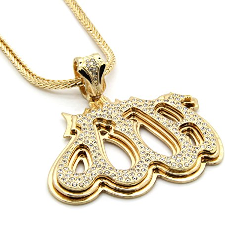 Mens Gold Tone Iced Out Allah One God Pendant Hip-hop 4mm 36