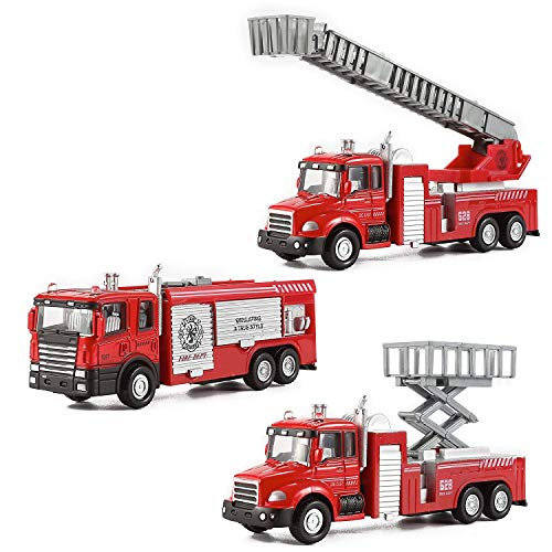 Liberty Imports Diecast Fire Truck Engine Pullback Toy 1:32 Scale Plastic Emergency Vehicles (Set of 3)