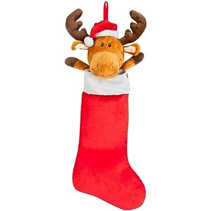 26 Inch Gemmy Animated Musical Plush Moose Christmas Stocking