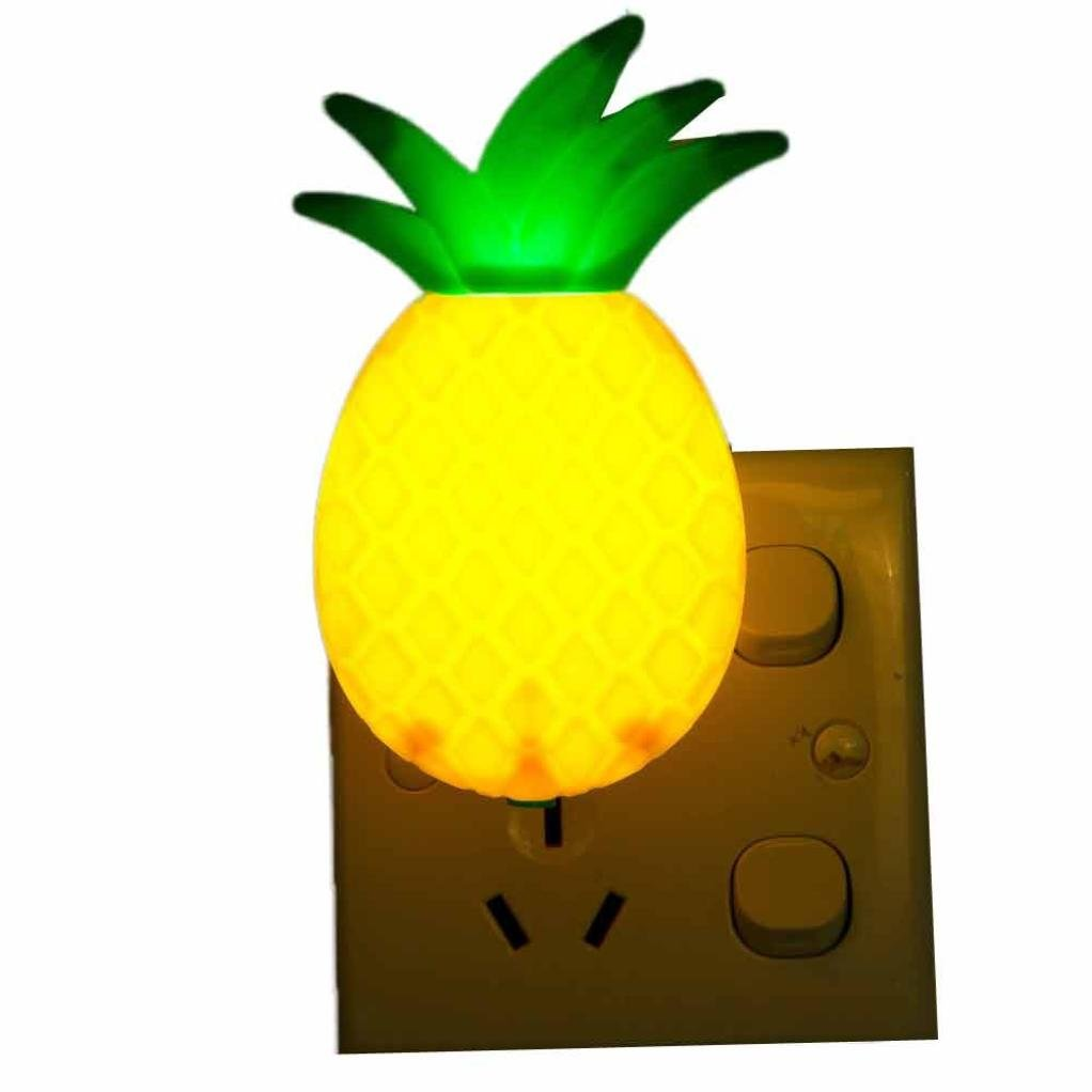 Xindda LED Night Lamp Switch Pineapple Fruit Cartoon Series Night Light, Suitable for Hotels, Bars, Home Decoration, Church, Halloween, Christmas gifts,Size:7.5610.5cm. (A)
