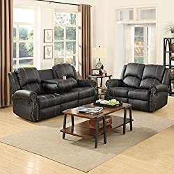 New Gold Thread 3+2 Sofa Set Loveseat Couch Recliner Leather Living Room Black