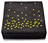 TROLIR Cocktail Napkins, Black with Gold Dots, 2-ply, Pack of 100 Disposable Paper Napkins 4.9x4.9 inch Stamped with Sparkly Gold Foil Dots, Ideal for Wedding, Party, Birthday, Dinner, Lunch,Cocktail
