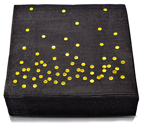 TROLIR Luncheon Napkins, Black With Gold Dots, 2-Ply, 100 Pack, Disposable Paper Napkins 6.5x6.5 inch, Stamped With Sparkly Gold Foil Dots, Ideal for Wedding, Party, Birthday, Dinner, Lunch, Cocktail