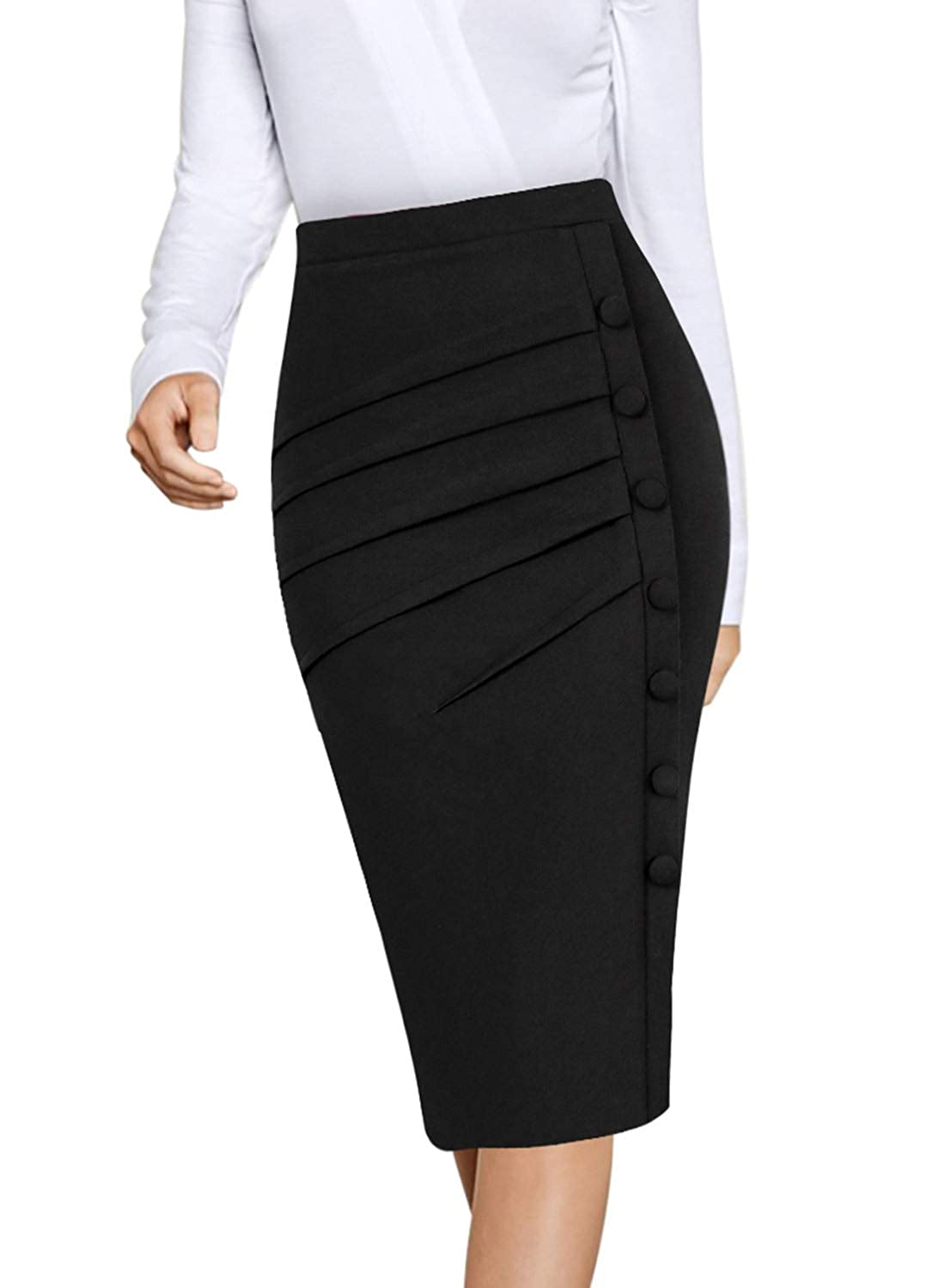 VFSHOW Womens Pleated Buttons High Waist Wear to Work Office Pencil Skirt