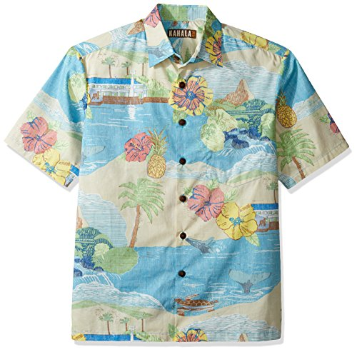 Kahala Men's Kalama Relaxed Fit Hawaiian Shirt, Sand, - Map Kahala Hawaii