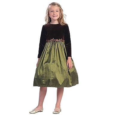 Infant Girls Brown Olive Green Velvet Christmas Dress 18m Sweet