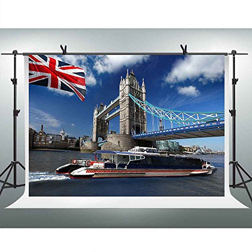 FHZON 7x5ft Famous Tower Bridge, London Photography Backdrop British Flag Motorboat Background Themed Party YouTube Backdrop Photo Booth Studio Props GEFH257