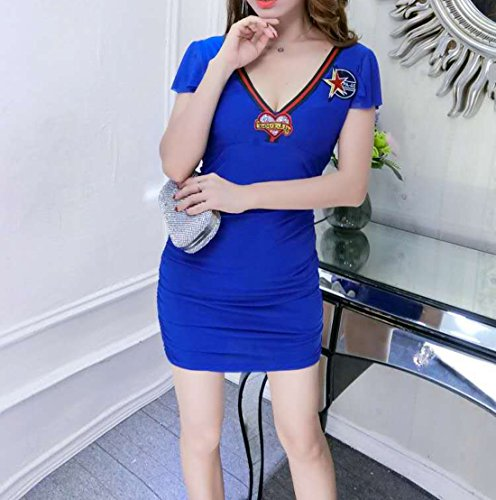 V Robe Mini Bleu Club Elastique Col Unique Moulante Acvip Slim Taille Femme Eté qwE75zzI