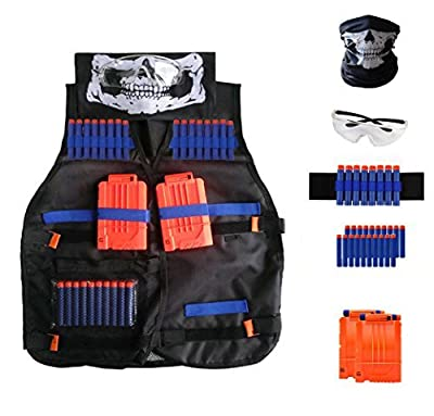Locisne Kids Tactical Vest Kit with Nerf Guns N-Strike Elite Series, Refill Foam Darts, Quick Reload Clips, Tactical Vest, Hand Wrist Band, Vision Gear Eyewear, Face Tube Mask, for Boys and Girls