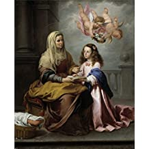 The Perfect effect canvas of oil painting 'Murillo Bartolome Esteban Santa Ana y la Virgen Ca. 1655 ' ,size: 8 x 10 inch / 20 x 25 cm ,this Replica Art DecorativeCanvas Prints is fit for Bathroom decoration and Home artwork and Gifts